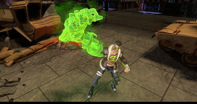 Atomic Green Lantern packt mit magischer Armprotese zu.