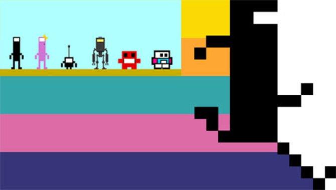 Commander Video (rechts und ganz links) und seine zweifelhaften Kameraden, die ihm zum Beispiel in Fate zur Seite stehen (kleines Bild). Der zweite von rechts ist �brigens der Titelheld aus Super Meat Boy (XBox Live Arcade, 2010).