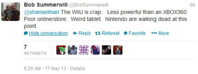 """""""Die Wii U ist scheiße. Schwächer als die Xbox 360. Armseliger Online-Shop. Seltsames Tablet. Nintendo ist an dieser Stelle stehend K.O."""""""