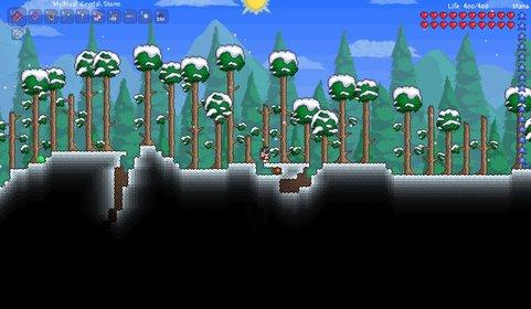 In Terraria startet ihr in einer unbekannten Welt irgendwo im Wald.