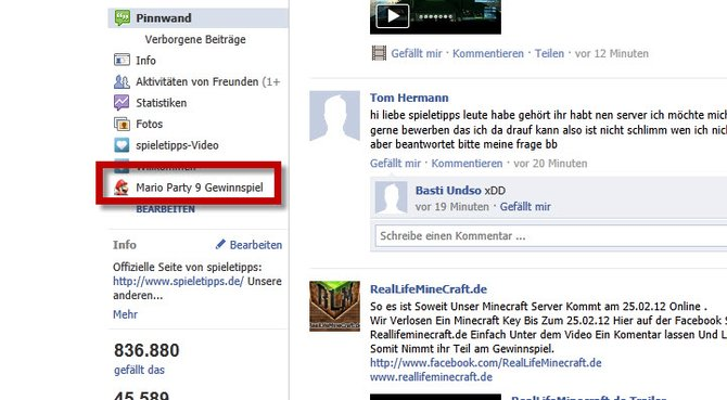 """Zuerst klickt ihr auf unserer Facebook-Pinnwand auf die Schaltfläche """"Mario Party 9 Gewinnspiel"""". Ihr findet die Schaltfläche unter dem Profilbild."""
