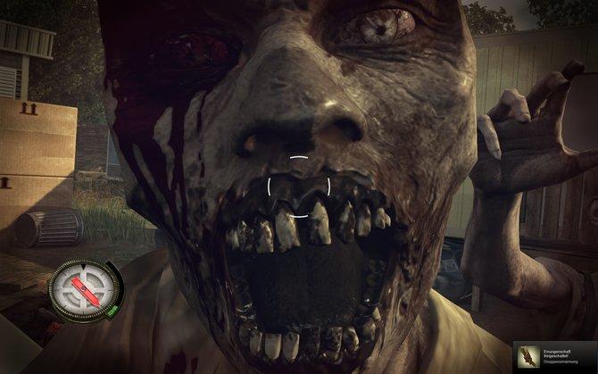 Du stinkst! Wenn die Zombies so nah kommen, leidet Darlys Gesundheit.