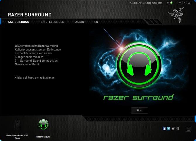 Mit Razer Surround könnt ihr aus eurem Stereo-Kopfhörer ein Raumklang-Modell machen.