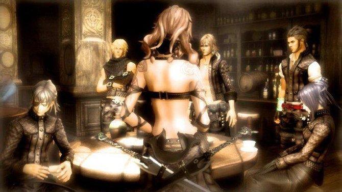 Einträchtig versammelt sich die Gruppe von The Last Story in der Taverne.