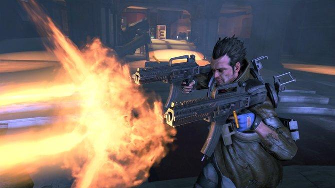 NeverDead-Held Bryce kann zwei beliebige Waffen kombinieren.