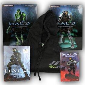 """Der Hauptpreis gewinnt zwei detailgetreue Halo-Figuren, das Buch """"The great Journey Halo"""", den Halo-Roman """"Der Aufstand"""" und einen Xbox-360-Kapuzenpullover."""