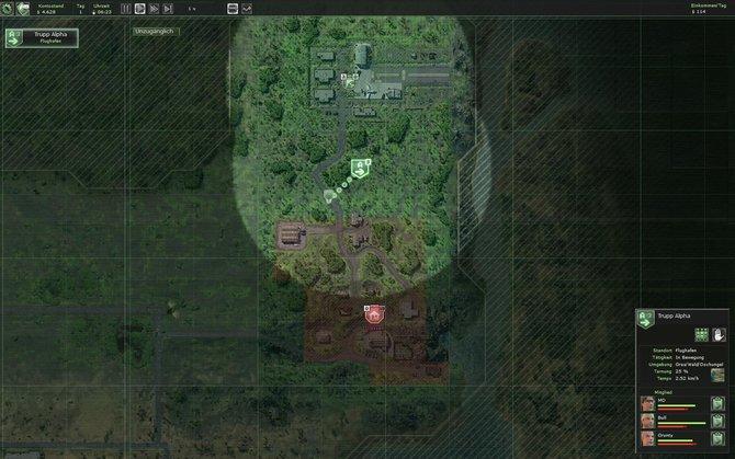 Zwischen Orten reist ihr auf der Übersichtskarte hin und her (links). Solange ihr nicht auf feindlichem Boden seid, ist eure Truppe nur ein Symbol auf dieser Karte. ...