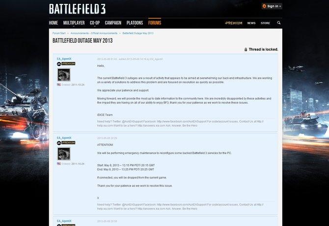 Laut Forenmeldung wurde Battlefield 3 Opfer eines Hackerangriffs. Nach einem kurzen Ausfall ist das Spiel inzwischen aber wieder verfügbar.