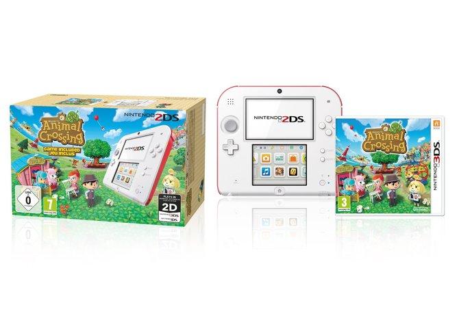 Das Paket mit Animal Crossing kommt mit weiß-rotem 2DS.