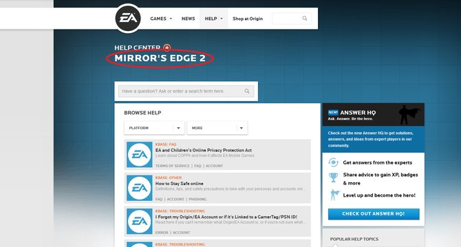 Kurzzeitig schaltete EA eine offizielle Hilfe-Seite zu Mirror's Edge 2 online.