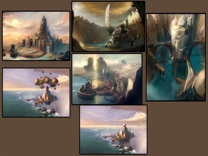 Diese Konzeptzeichnung zeigt beeindruckende Ausschnitte aus den Königreichen Kartugas.