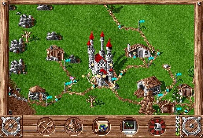 Schon der erste Teil Die Siedler bietet die bekannten Männchen. Die Burg ist euer Startpunkt.