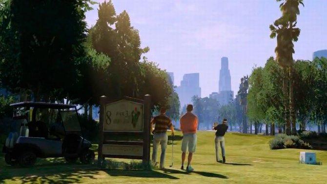 Im Trailer zu GTA 5 sieht man einen Golfplatz (links), auf ...