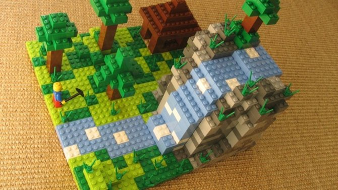 Eine typische Minecraft-Szene mit Lego-Steinen nachgebaut.