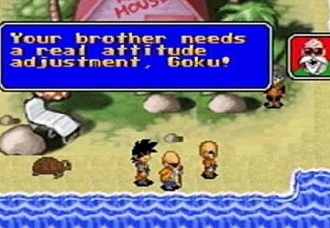 Auch auf tragbaren Konsolen treibt sich Son-Goku herum: Als winziges Pixel-Kleckschen rast er noch 1994 in Dragon Ball Z - Goku Hishouden (Game Boy, nur ...
