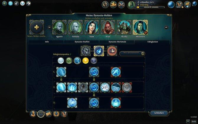 Euren Helden spendiert ihr pro Levelaufstieg eine zuätzliche Fähigkeit (linkes Bild). Was ihr auswählen dürft, bestimmt die Ausrichtung des Helden. Dieser ...