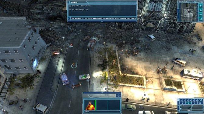 Nachdem ein Turm des Kölner Doms eingestürzt ist, löscht ihr das Feuer und kümmert euch um einen verletzten Priester (Bild 1). In ...