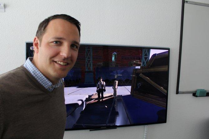 Dr. Florian Stadlbauer, Ausführender Direktor bei Deck 13, zeigt erste Spielszenen aus Jack Keane 2.
