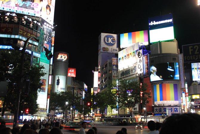 Leuchtend und schrill: Das Stadtviertel Shibuya bei Nacht.