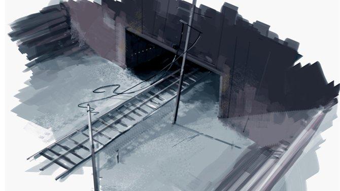 """Bisher sind nur Illustrationen zu """"Eden Falls"""" erhältlich. Diese zeigt den Eingang zu einem unterirdischen Schienennetz."""
