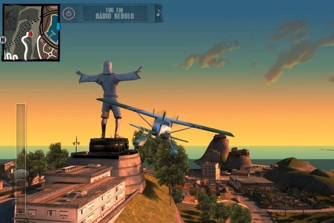 Mit dem Flugzeug düst ihr über die brasilianische Großstadt.