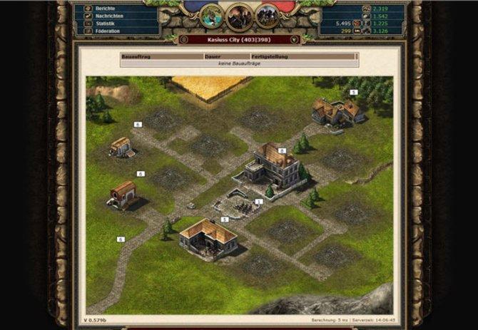 Die Stadtansicht des Aufbau-Strategie-Spiels