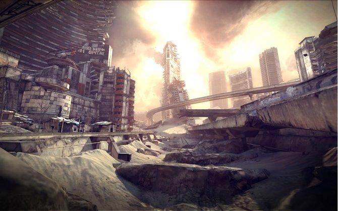 Zerstörte Ruinen zeugen von der kürzlichen Apokalypse.