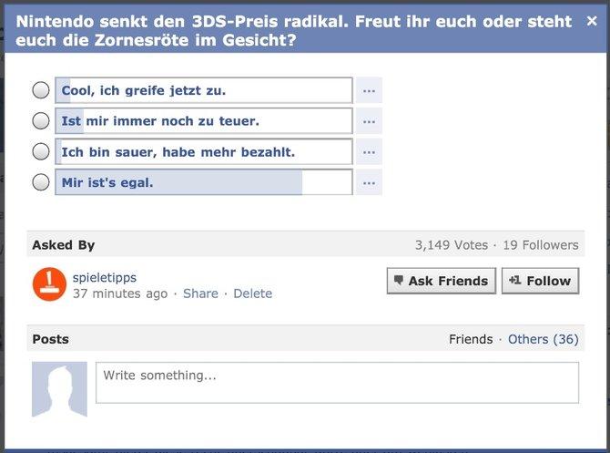 Eine Umfrage von uns auf Facebook zeigt, dass das Interesse am 3DS nicht erheblich steigt.