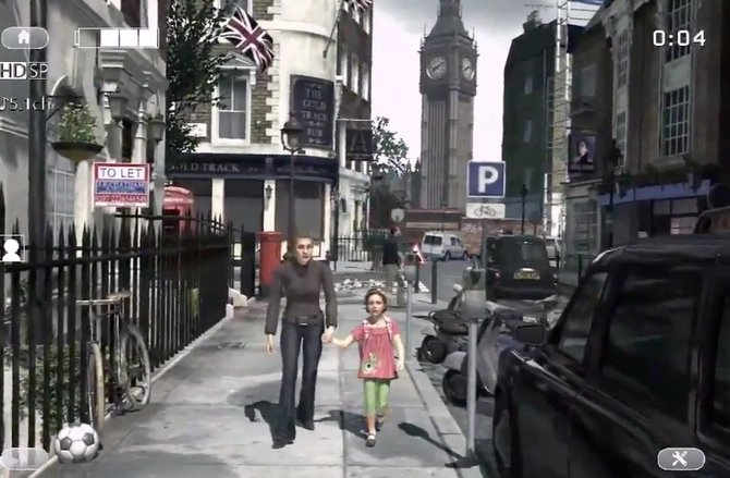 Tochter und Mutter spielen in London auf einem Bürgersteig, gefilmt vom Vater.