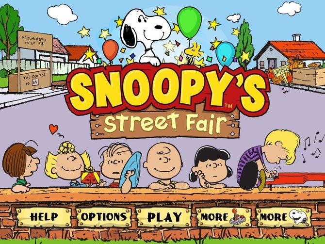 Das Hauptmenü zeigt schon einige der beliebten Peanuts-Figuren.