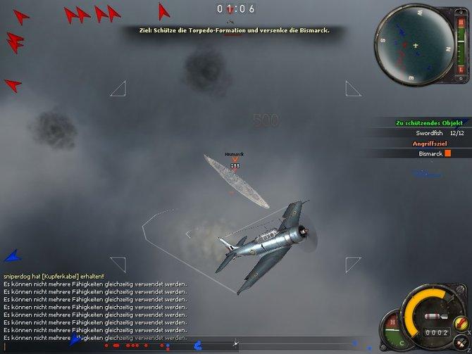 Viel zu tun: Die roten Pfeile am Rand markieren Feindflieger.