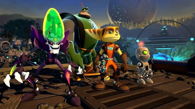Die vier Protagonisten (von links): Dr. Nefarious, Captain Qwark, Ratchet und Clank.