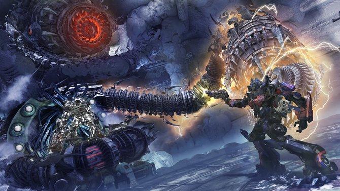 Gegen den riesigen Shockwave nimmt sich selbt Optimus Prime wie ein Zwerg aus.