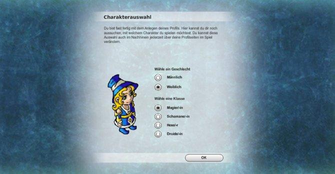 Während der Charaktererstellung könnt ihr eure Spielklasse und das Geschlecht eures Avatars wählen.