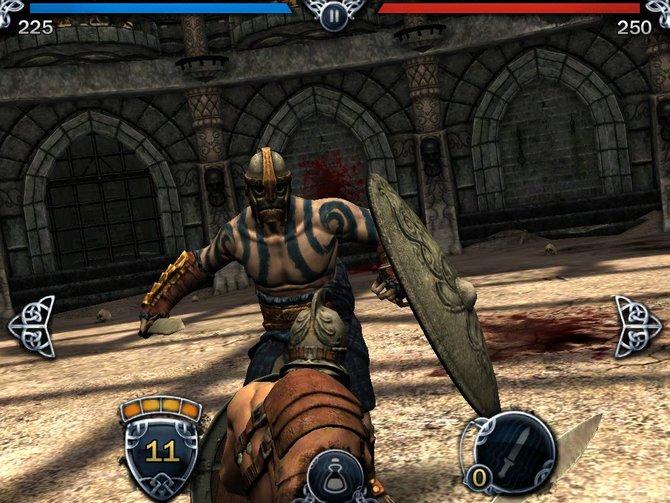 Die Kämpfe zeigt das Spiel aus einer Perspektive direkt hinter eurem Gladiator.