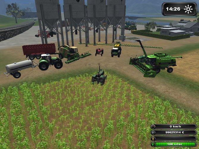 Der Landwirtschafts-Simulator 2011: Alle Maschinen stehen zur baldigen Ernt bereit.