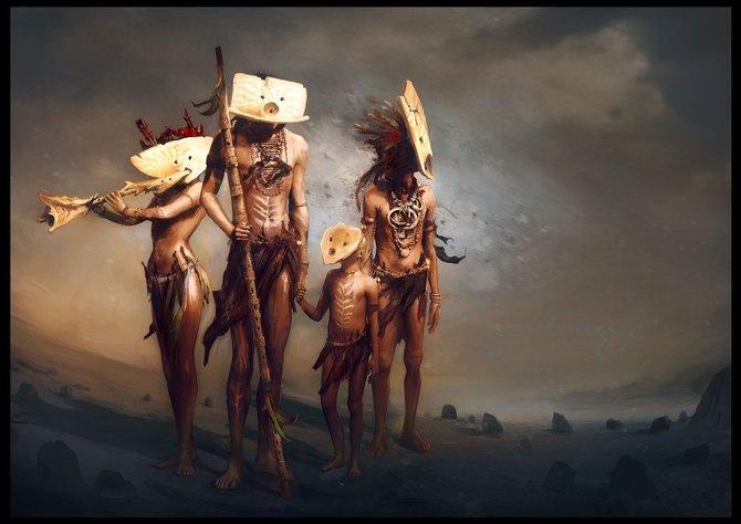 Der Volksstamm trägt Masken