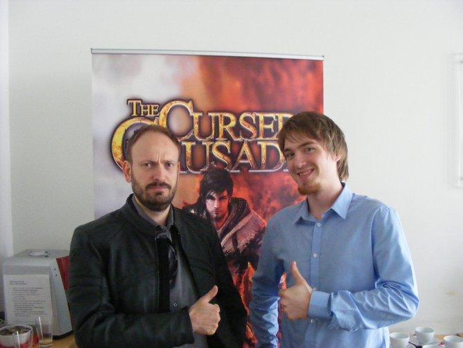 Von links: Entwicler Yann Tambellini und spieletipps-Reporter David Dieckmann.
