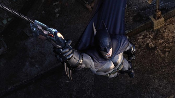 Batman hebt sich agil wie immer in die Lüfte.