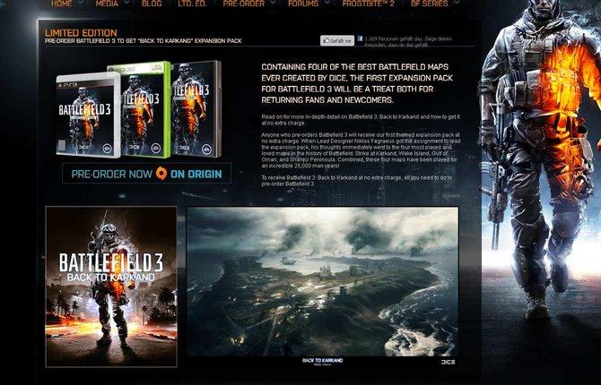 """Tippt ihr """"ModernWarfare3.com"""" ein, landet ihr auf der offiziellen Battlefield-Seite."""