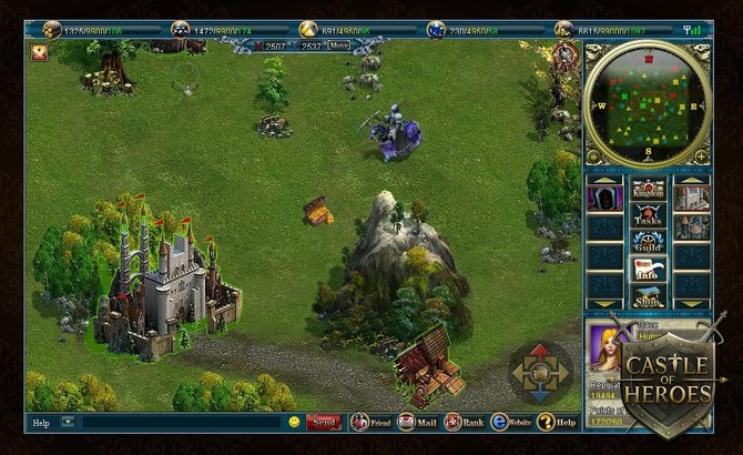 Die Übersichtskarte zeigt Items, Burgen, NPCs und gegnerische Einheiten.