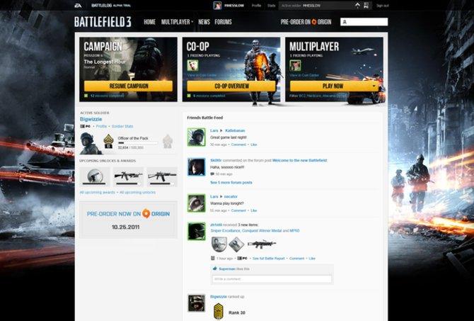 Das ist der Startbildschirm von Battlelog.