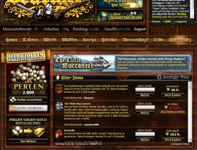 Auf dem Marktplatz können Artikel gegen Gold erworben werden. Sofortkauf ist nur mit Perlen möglich.