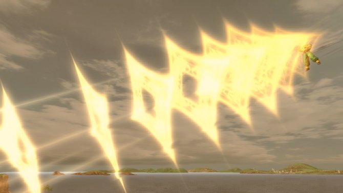 Tenshinhan setzt seine Neo-Kiku-Kanone gegen Cell ein. Der ...