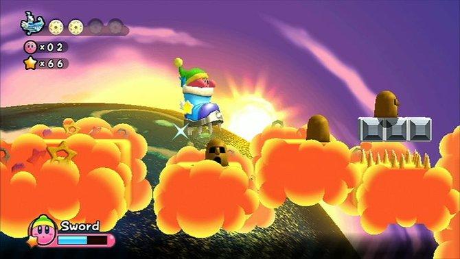 Kirby hat mehr Verwandlungen denn je. Hier macht er seine Gegner als Riesenschuh platt.