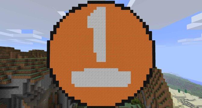 Auf dem Minecraft-Server von spieletipps: Das Logo überragt alle Gebäude.