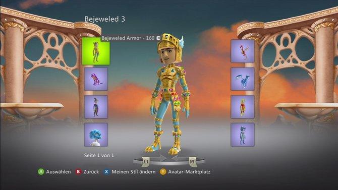 Der Xbox-Marktplatz eröffnet ganz neue Möglichkeiten, euren Avatar der Lächerlichkeit preis zu geben. Neben einer Edelstein-Rüstung ...
