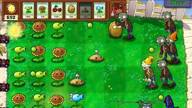 Im Vorgarten sind die Zombies los. Die Pflanzen verteidigen das Haus.