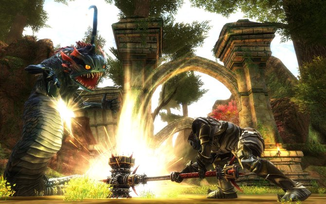 Der Krieger besitzt schwere Rüstung und riesige Waffen (links). Magier haben unter anderem Chakrams genannte Klingen, ...