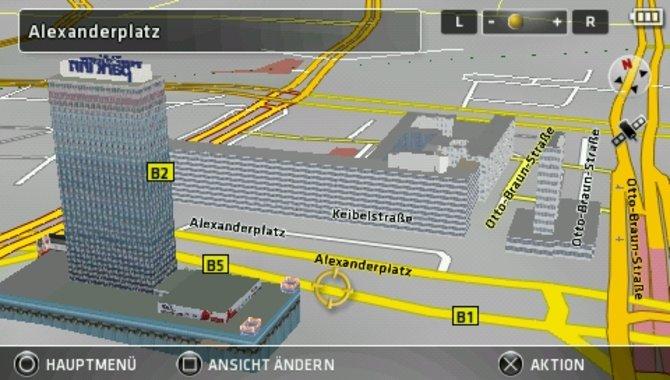 Sowohl die 3D-modellierten Gebäude als auch die Wegführung ...
